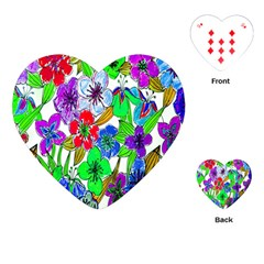 Background Of Hand Drawn Flowers With Green Hues Playing Cards (heart)  by Nexatart
