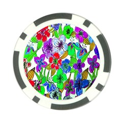 Background Of Hand Drawn Flowers With Green Hues Poker Chip Card Guard