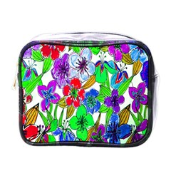 Background Of Hand Drawn Flowers With Green Hues Mini Toiletries Bags by Nexatart
