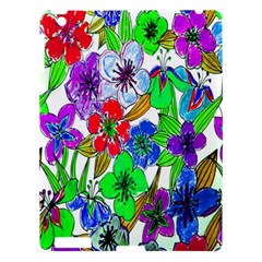 Background Of Hand Drawn Flowers With Green Hues Apple Ipad 3/4 Hardshell Case