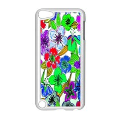 Background Of Hand Drawn Flowers With Green Hues Apple Ipod Touch 5 Case (white) by Nexatart