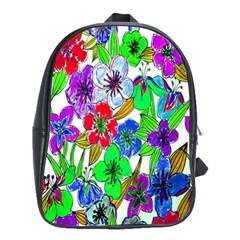Background Of Hand Drawn Flowers With Green Hues School Bags (xl)  by Nexatart