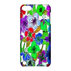 Background Of Hand Drawn Flowers With Green Hues Apple Ipod Touch 5 Hardshell Case With Stand