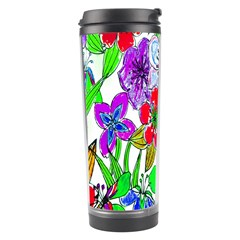Background Of Hand Drawn Flowers With Green Hues Travel Tumbler