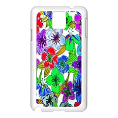 Background Of Hand Drawn Flowers With Green Hues Samsung Galaxy Note 3 N9005 Case (white) by Nexatart