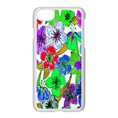Background Of Hand Drawn Flowers With Green Hues Apple Iphone 7 Seamless Case (white) by Nexatart