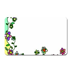 Floral Border Cartoon Flower Doodle Magnet (rectangular) by Nexatart