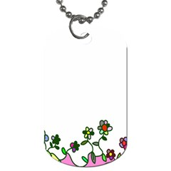 Floral Border Cartoon Flower Doodle Dog Tag (one Side) by Nexatart