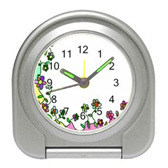 Floral Border Cartoon Flower Doodle Travel Alarm Clocks by Nexatart
