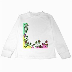 Floral Border Cartoon Flower Doodle Kids Long Sleeve T Shirts