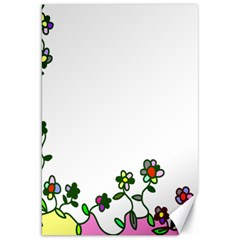 Floral Border Cartoon Flower Doodle Canvas 20  X 30