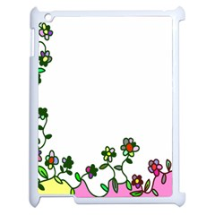 Floral Border Cartoon Flower Doodle Apple Ipad 2 Case (white) by Nexatart