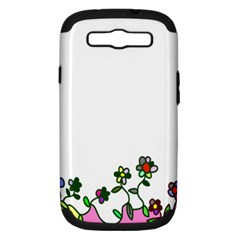 Floral Border Cartoon Flower Doodle Samsung Galaxy S Iii Hardshell Case (pc+silicone)
