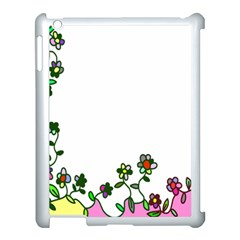 Floral Border Cartoon Flower Doodle Apple Ipad 3/4 Case (white) by Nexatart