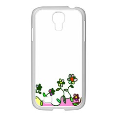 Floral Border Cartoon Flower Doodle Samsung Galaxy S4 I9500/ I9505 Case (white)