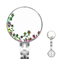 Floral Border Cartoon Flower Doodle Stainless Steel Nurses Watch by Nexatart