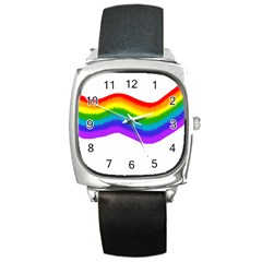 Watercolour Rainbow Colours Square Metal Watch by Nexatart