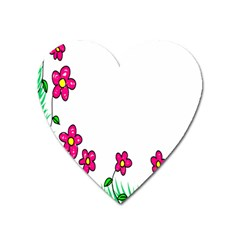 Floral Doodle Flower Border Cartoon Heart Magnet by Nexatart