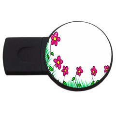 Floral Doodle Flower Border Cartoon Usb Flash Drive Round (2 Gb) by Nexatart