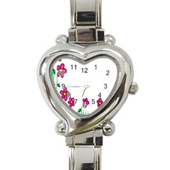 Floral Doodle Flower Border Cartoon Heart Italian Charm Watch by Nexatart
