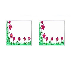 Floral Doodle Flower Border Cartoon Cufflinks (square) by Nexatart
