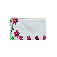 Floral Doodle Flower Border Cartoon Cosmetic Bag (small)  by Nexatart