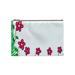 Floral Doodle Flower Border Cartoon Cosmetic Bag (medium)  by Nexatart