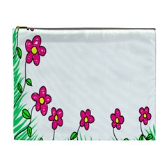 Floral Doodle Flower Border Cartoon Cosmetic Bag (xl) by Nexatart