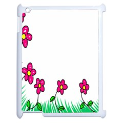 Floral Doodle Flower Border Cartoon Apple Ipad 2 Case (white) by Nexatart