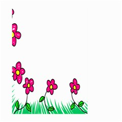 Floral Doodle Flower Border Cartoon Large Garden Flag (two Sides) by Nexatart