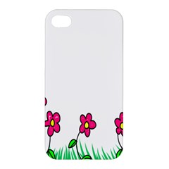 Floral Doodle Flower Border Cartoon Apple Iphone 4/4s Premium Hardshell Case