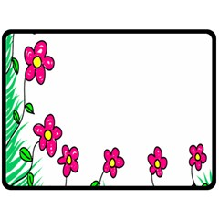 Floral Doodle Flower Border Cartoon Double Sided Fleece Blanket (large)