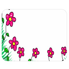Floral Doodle Flower Border Cartoon Double Sided Flano Blanket (medium)