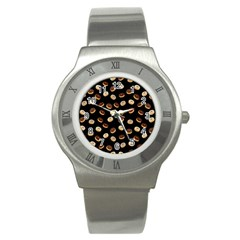 Donuts Pattern Stainless Steel Watch by Valentinaart