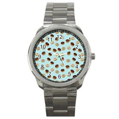Donuts Pattern Sport Metal Watch by Valentinaart