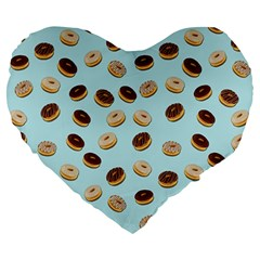 Donuts Pattern Large 19  Premium Heart Shape Cushions
