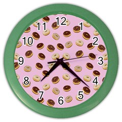 Donuts Pattern Color Wall Clocks by Valentinaart