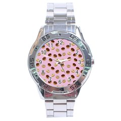 Donuts Pattern Stainless Steel Analogue Watch by Valentinaart