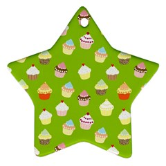 Cupcakes Pattern Ornament (star) by Valentinaart