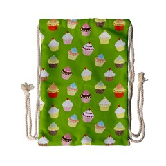 Cupcakes Pattern Drawstring Bag (small) by Valentinaart