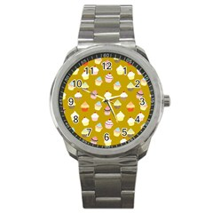Cupcakes Pattern Sport Metal Watch by Valentinaart