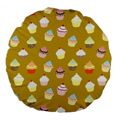 Cupcakes Pattern Large 18  Premium Round Cushions by Valentinaart