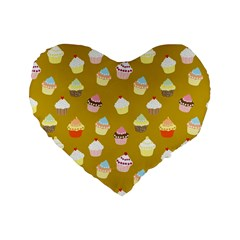 Cupcakes Pattern Standard 16  Premium Flano Heart Shape Cushions by Valentinaart