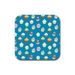 Cupcakes Pattern Rubber Coaster (square)  by Valentinaart