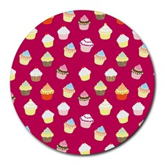 Cupcakes Pattern Round Mousepads by Valentinaart