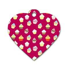 Cupcakes Pattern Dog Tag Heart (one Side) by Valentinaart