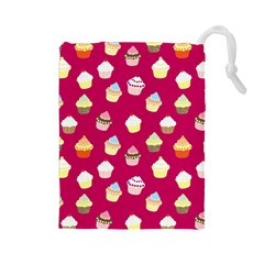 Cupcakes Pattern Drawstring Pouches (large)  by Valentinaart