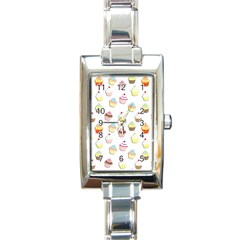 Cupcakes Pattern Rectangle Italian Charm Watch by Valentinaart