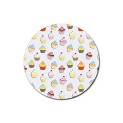 Cupcakes Pattern Rubber Round Coaster (4 Pack)  by Valentinaart