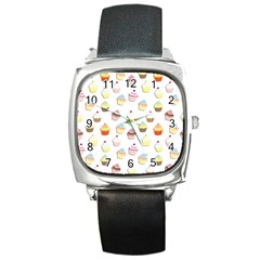 Cupcakes Pattern Square Metal Watch by Valentinaart
